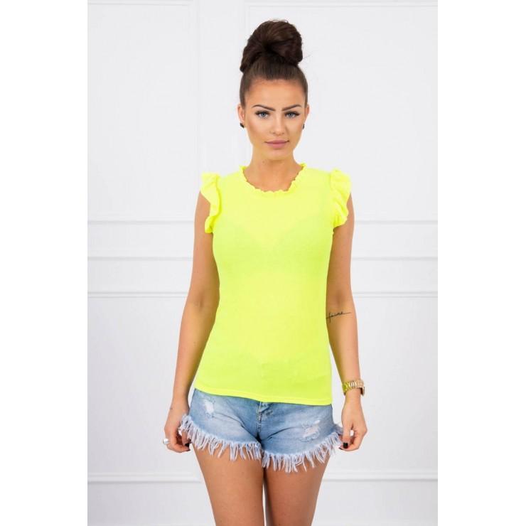 Women's T-shirt decorated with ruffles MI9092 yellow neon