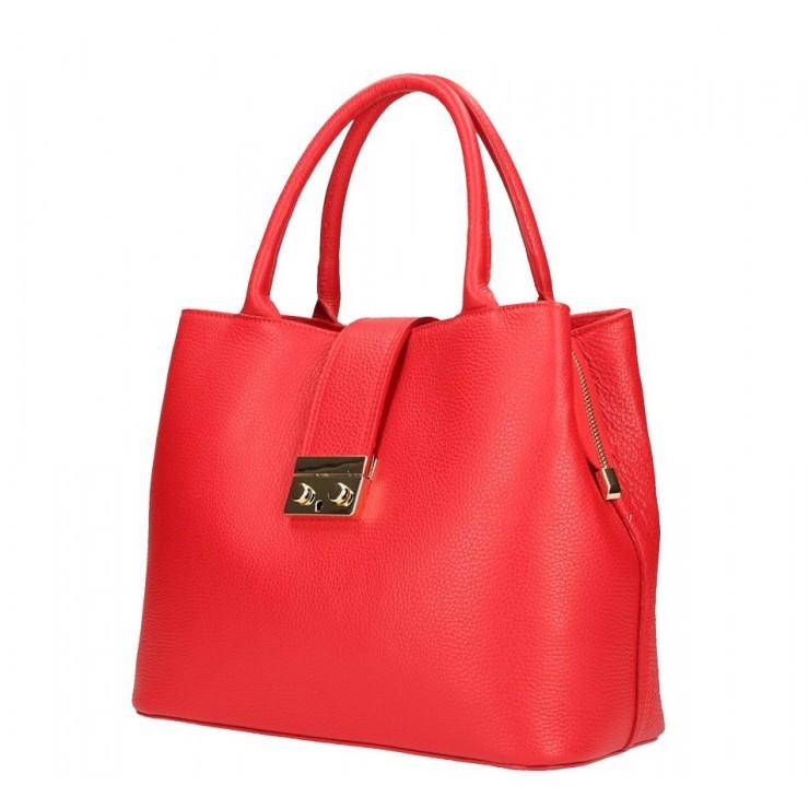 Červená kožená kabelka 5307