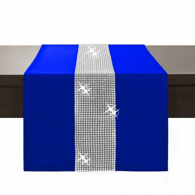 Behúň na stôl Glamour so zirkónmi azurovo modrý