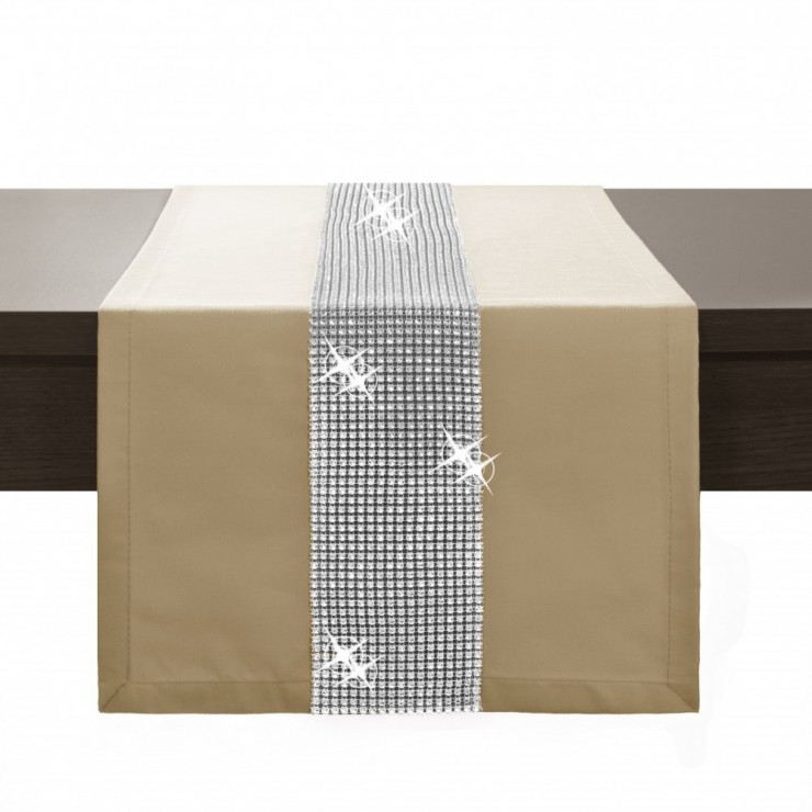 Behúň na stôl Glamour so zirkónmi béžový