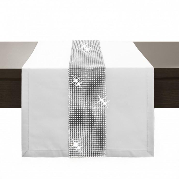 Behúň na stôl Glamour so zirkónmi biely