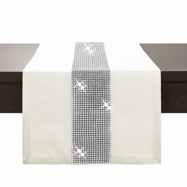 Behúň na stôl Glamour so zirkónmi krémový