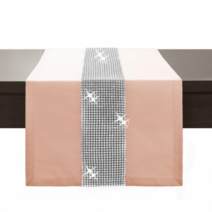 Behúň na stôl Glamour so zirkónmi lososový