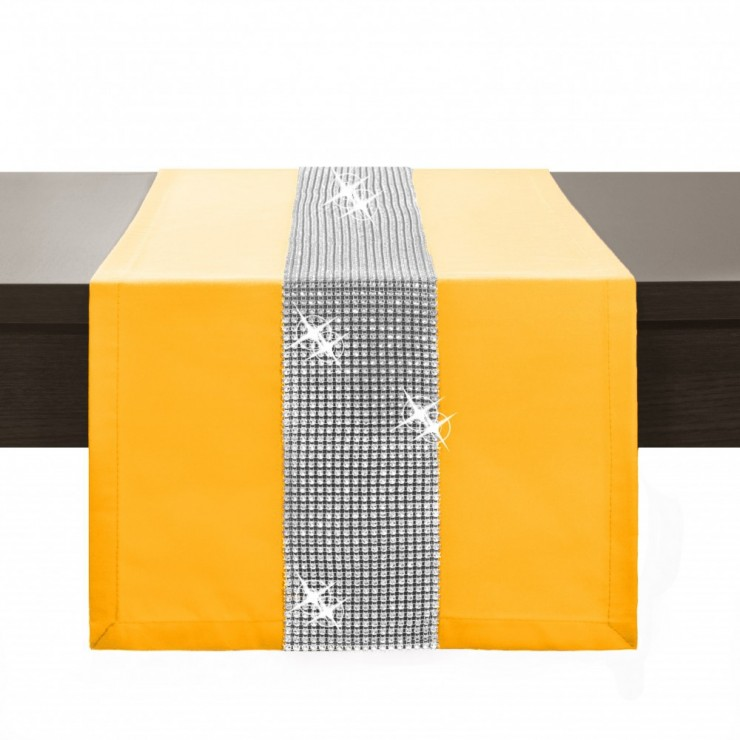 Behúň na stôl Glamour so zirkónmi žltý