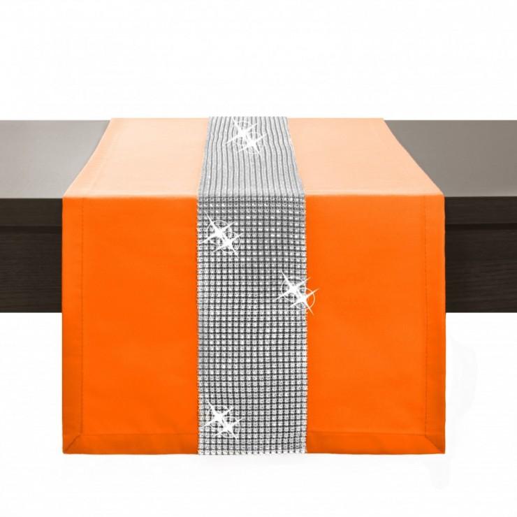 Behúň na stôl Glamour so zirkónmi oranžový