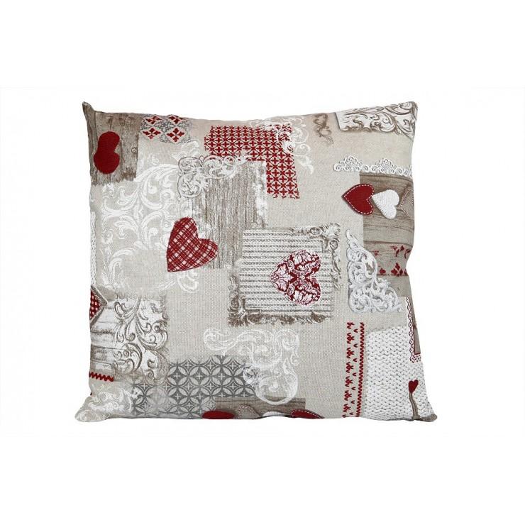 Obliečka na vankúš 40x40 cm patchwork červené srdiečka