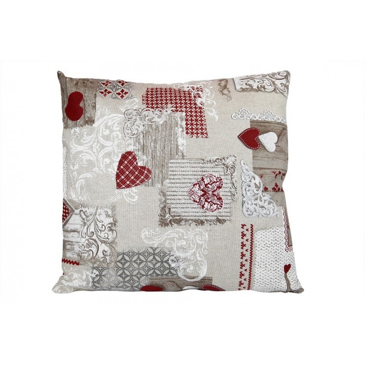 Pillowcase 40x40 cm patchwork red hearts