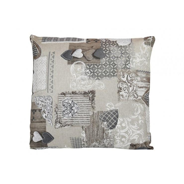 Obliečka na vankúš 40x40 cm patchwork šedohnedé srdiečka