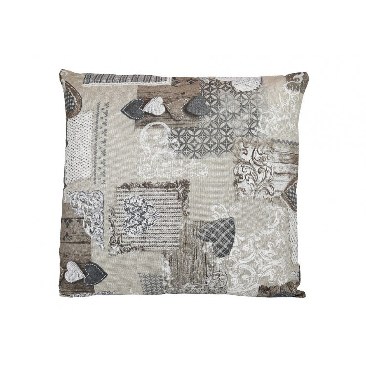 Pillowcase 40x40 cm patchwork taupe hearts