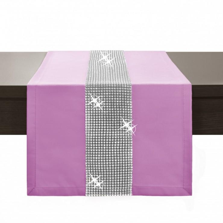 Behúň na stôl Glamour so zirkónmi svetloružový