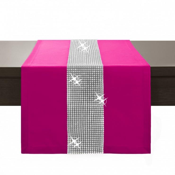 Behúň na stôl Glamour so zirkónmi tmavoružový