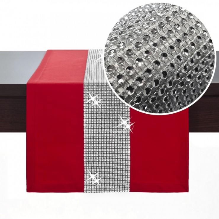 Behúň na stôl Glamour so zirkónmi červený