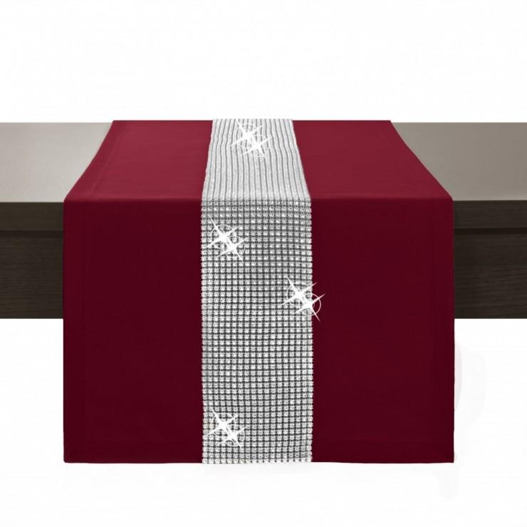 Běhoun na stůl Glamour se zirkony bordó