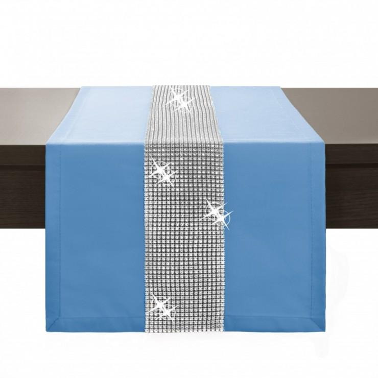 Behúň na stôl Glamour so zirkónmi blankytne modrý