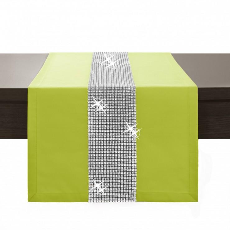 Behúň na stôl Glamour so zirkónmi limetkovo zelený