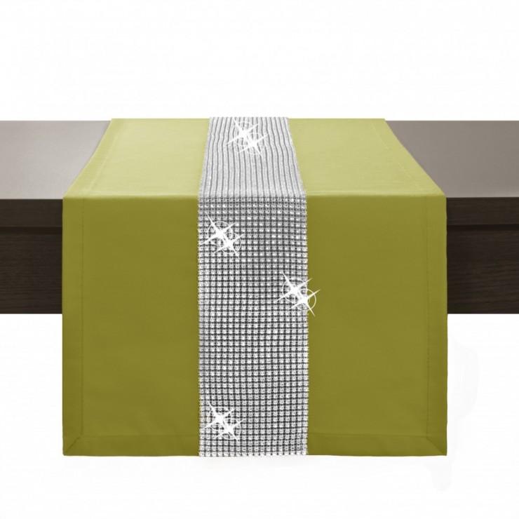 Behúň na stôl Glamour so zirkónmi olivovo zelený