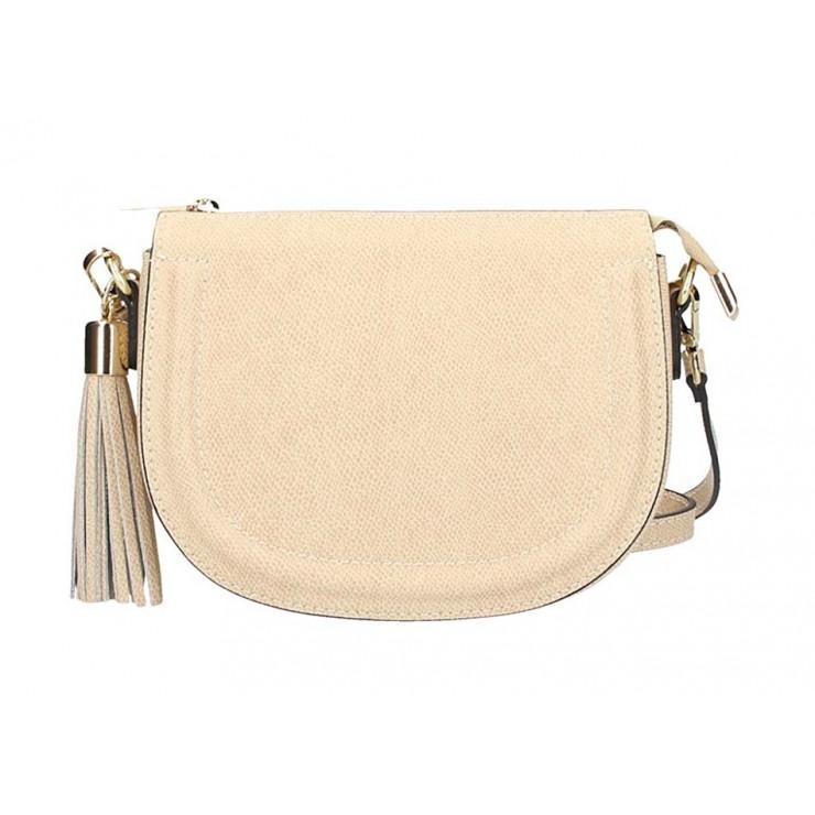 Béžová kožená kabelka na rameno 1021