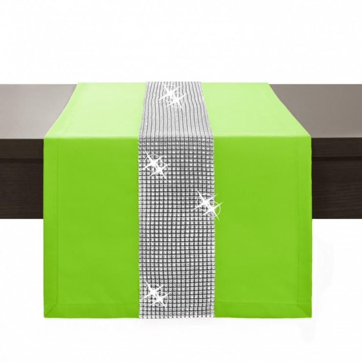 Behúň na stôl Glamour so zirkónmi svetlozelený
