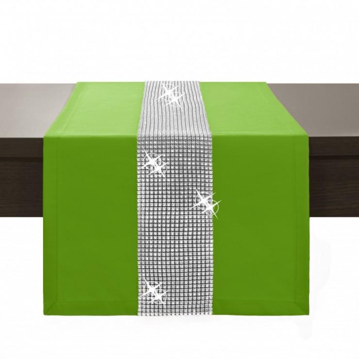 Behúň na stôl Glamour so zirkónmi zelený