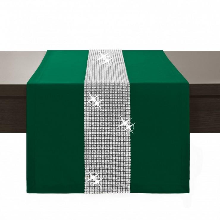 Behúň na stôl Glamour so zirkónmi tmavozelený