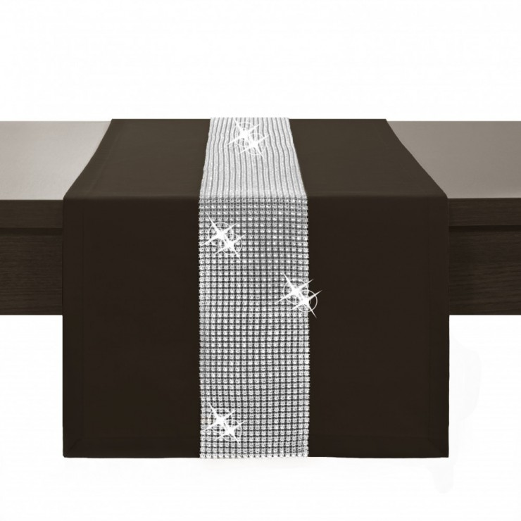 Behúň na stôl Glamour so zirkónmi tmavohnedý
