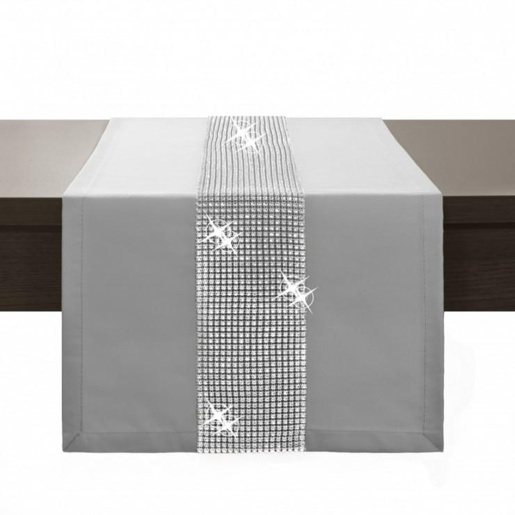 Behúň na stôl Glamour so zirkónmi svetlošedý