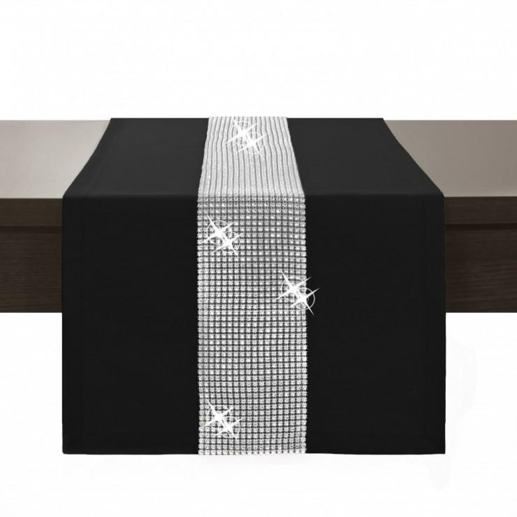Behúň na stôl Glamour so zirkónmi čierny