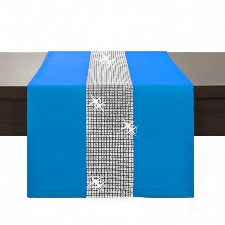 Behúň na stôl Glamour so zirkónmi svetlomodrý