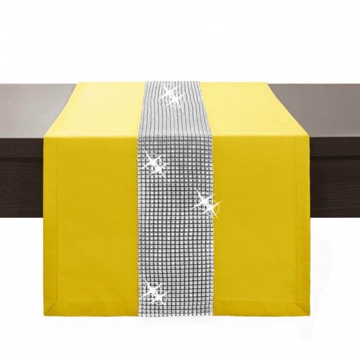 Behúň na stôl Glamour so zirkónmi pastelovo žltý