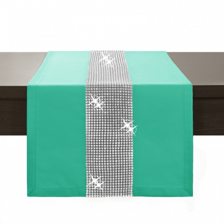 Behúň na stôl Glamour so zirkónmi mätový