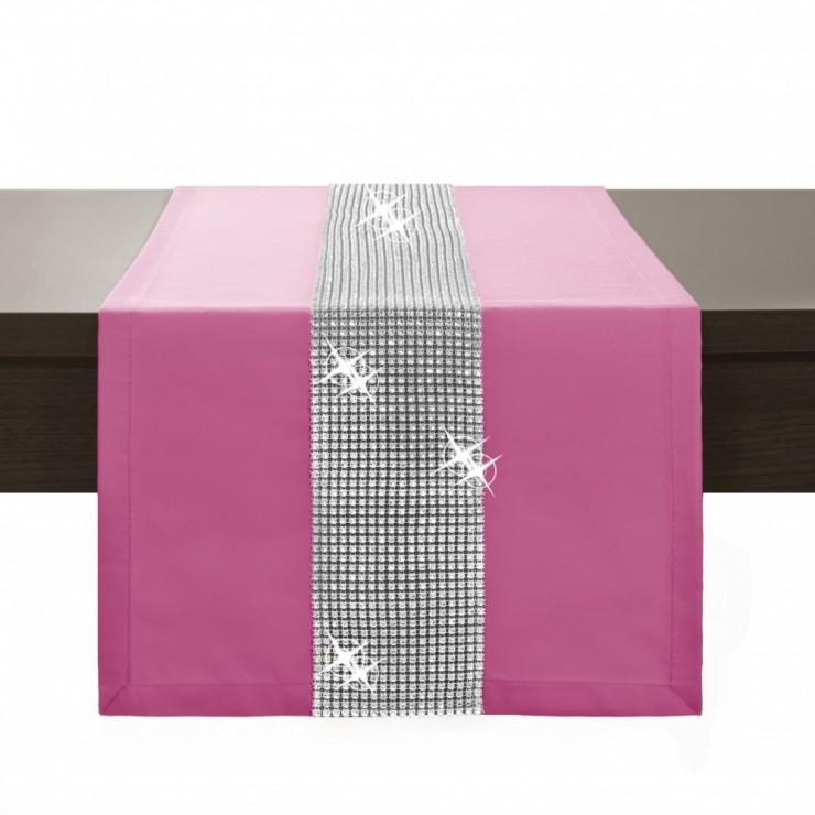 Behúň na stôl Glamour so zirkónmi ružový