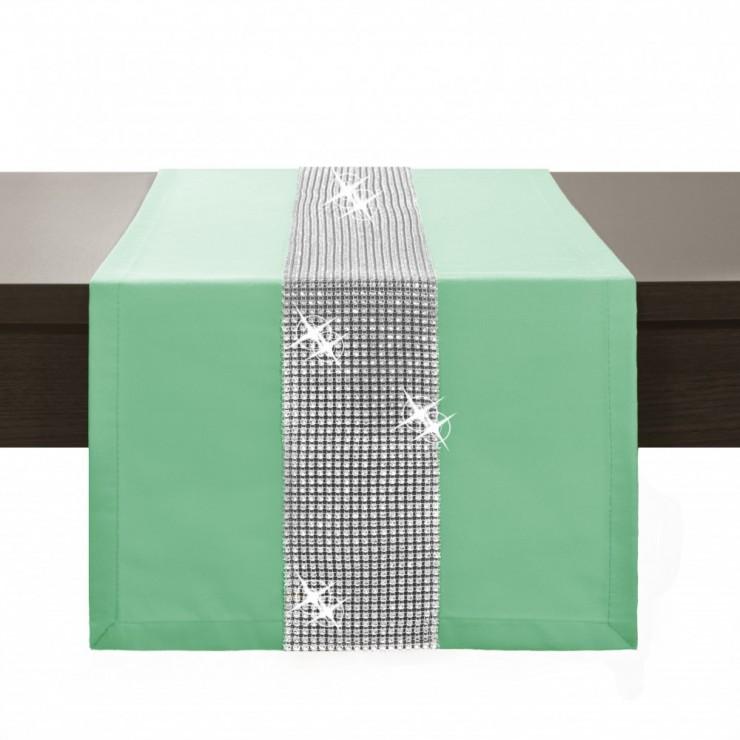 Behúň na stôl Glamour so zirkónmi pistácia
