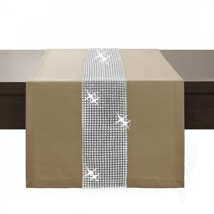 Behúň na stôl Glamour so zirkónmi mokka