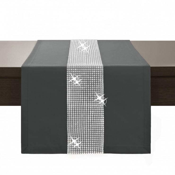 Behúň na stôl Glamour so zirkónmi grafitový