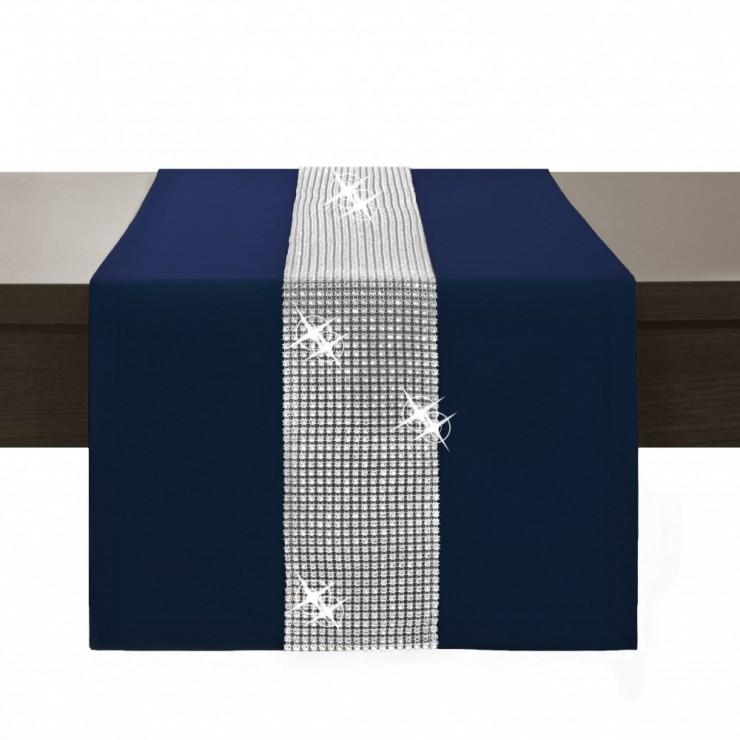 Behúň na stôl Glamour so zirkónmi tmavomodrý