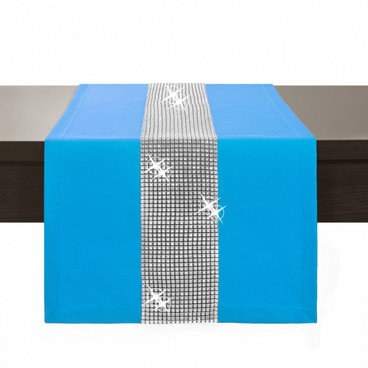 Behúň na stôl Glamour so zirkónmi tyrkysovo modrý