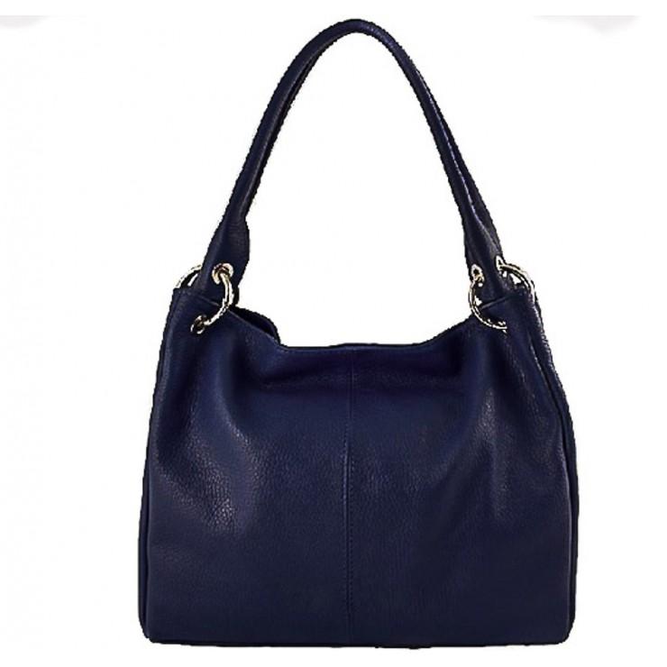 Dámská kožená kabelka 1107 tmavě modrá
