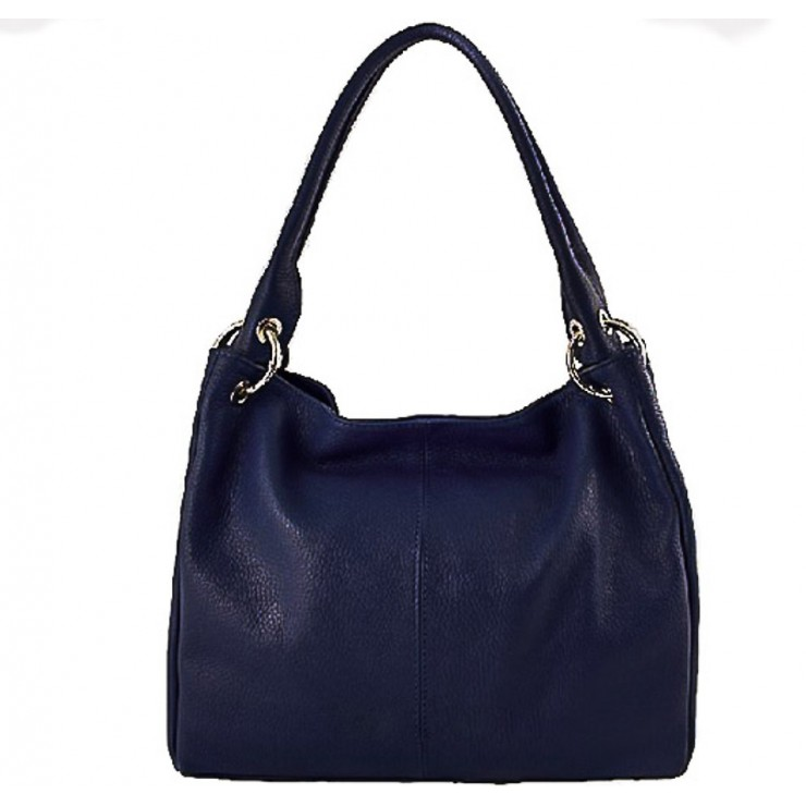 Leather shoulder bag 1107 dark blue