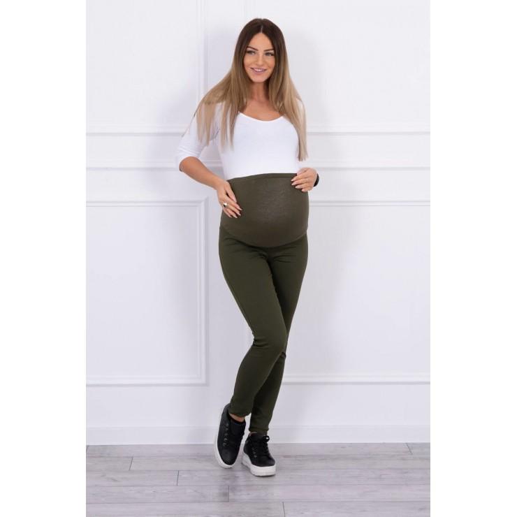 Těhotenské kalhoty MI3672 tmavězelené