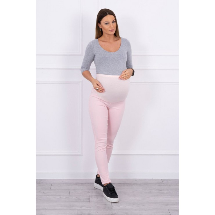 Tehotenské nohavice MI3672 pudrovo ružové