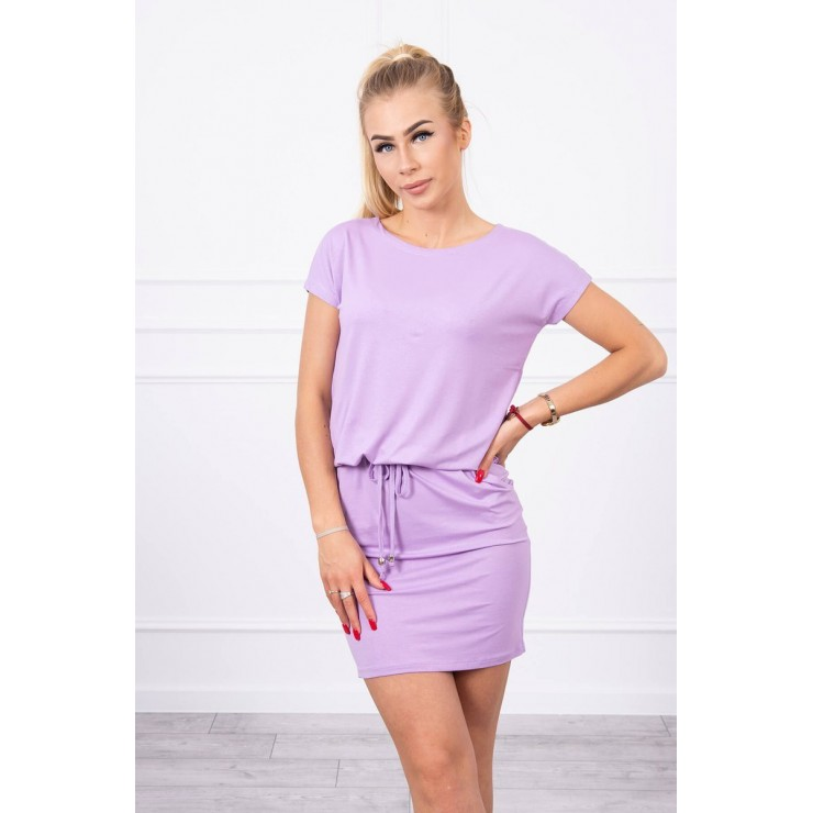 Viscose dress tied at the waist with short sleeves MI9074 purple