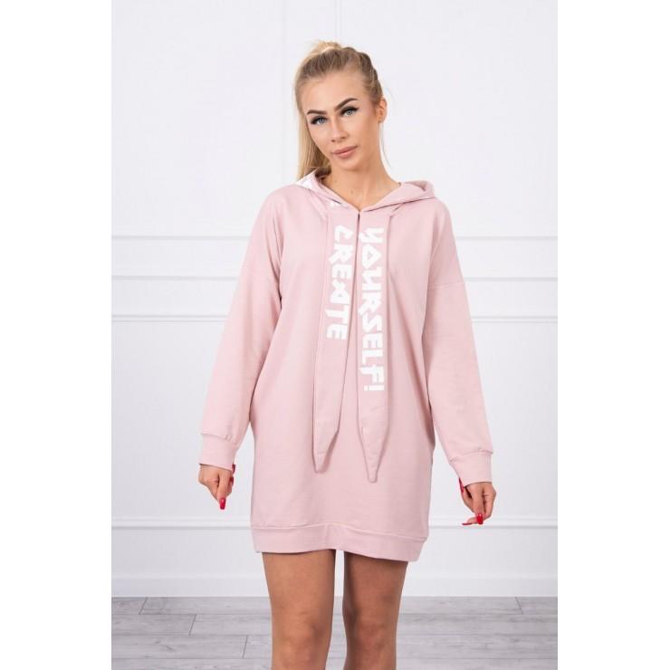 Šaty s kapucí MI0042 pudrově růžové