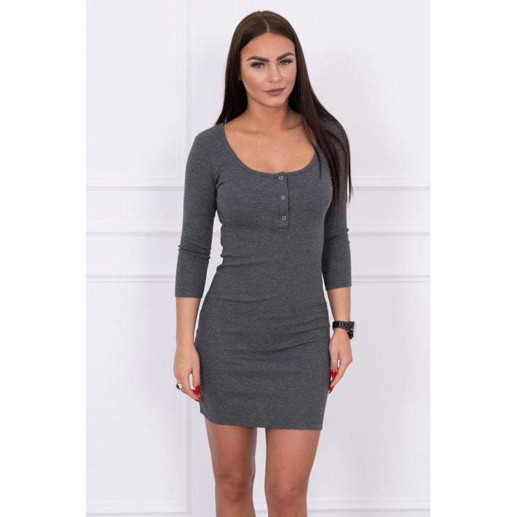 Šaty s výstřihem MI8975 grafitové