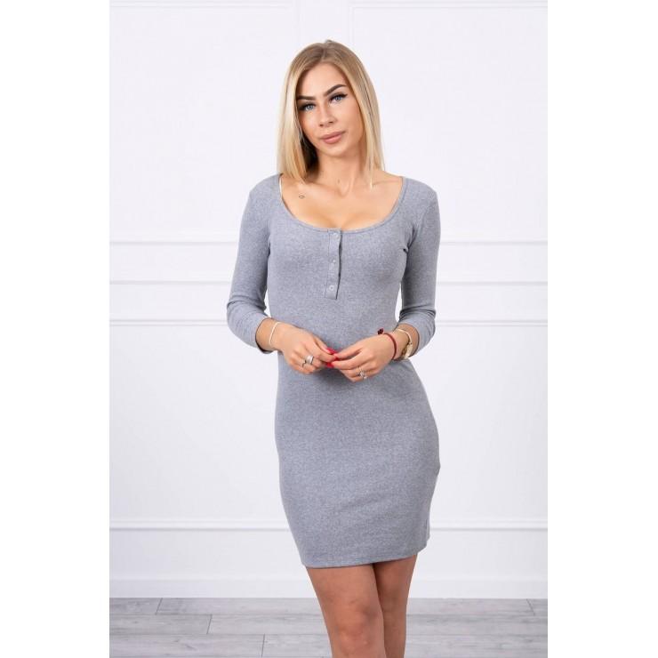 Šaty s výstřihem MI8975 tmavě šedé