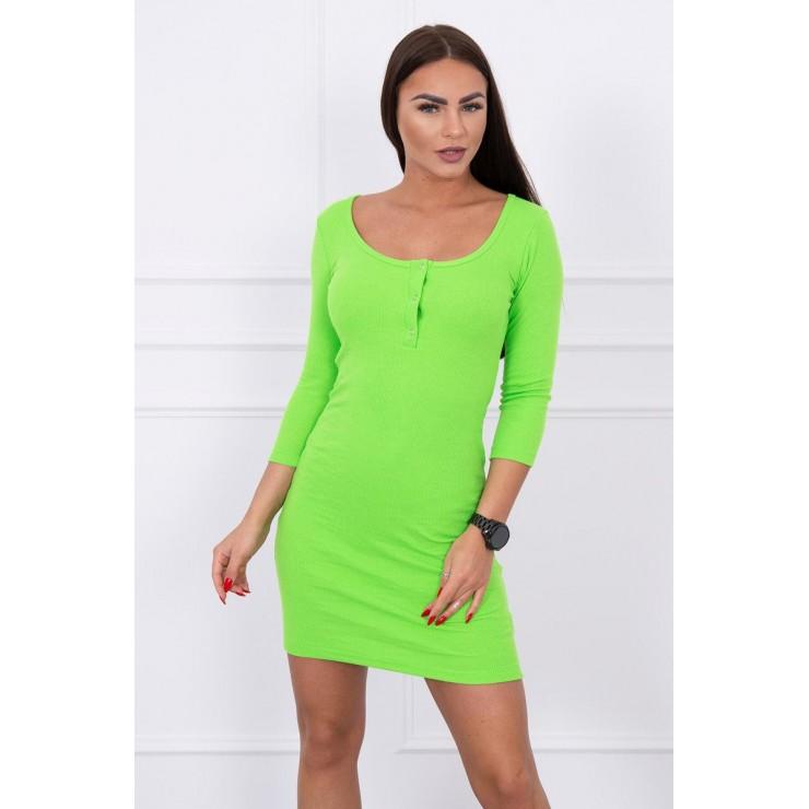 Šaty s výstřihem MI8975 neonově zelené