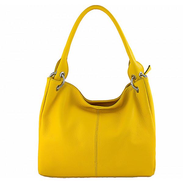 Dámska kožená kabelka 1107 žltá Žltá
