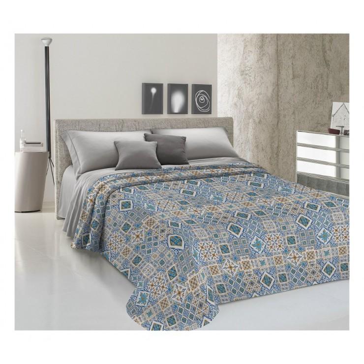 Prikrývka na posteľ Piquet Majolika modrá