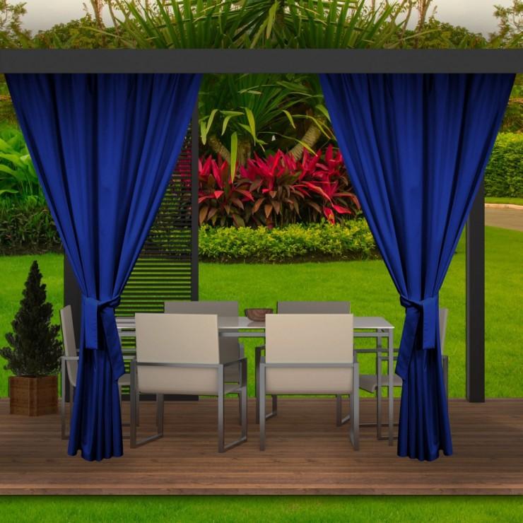 Záhradný záves do altánku MIG143 azurovo modrý