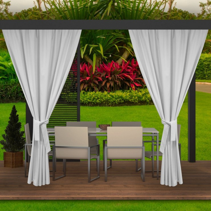 Garden curtain on the terrace MIG143 white