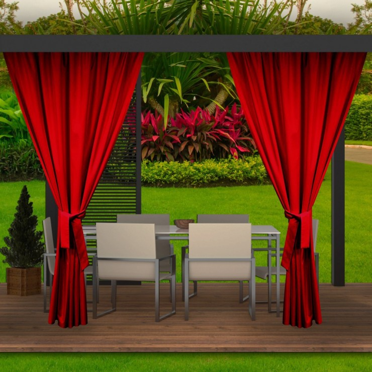 Garden curtain on the terrace MIG143 red